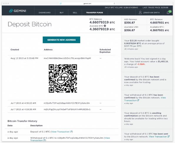 deposit at Bitcoin Gemini